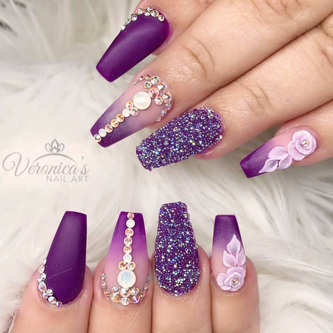 Luxury Matte Purple And Sparkly Rhinestones picture 3