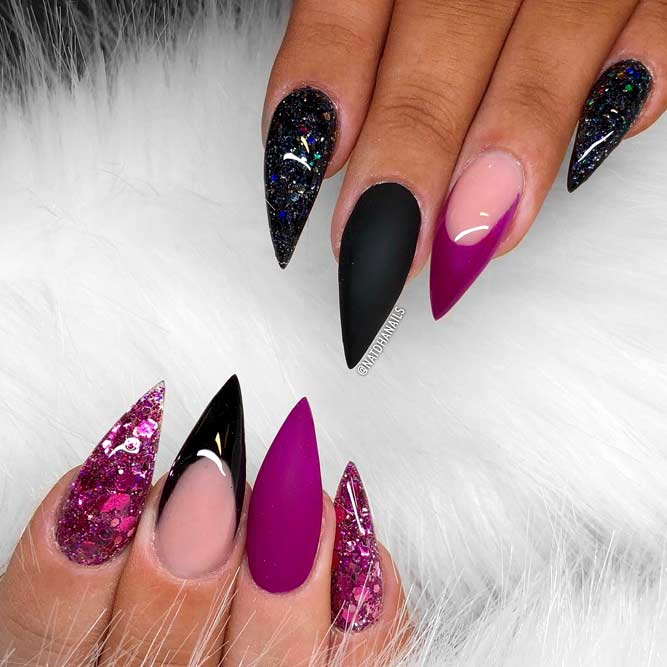 Lovely Purple Nails With Glitter Accent picture3