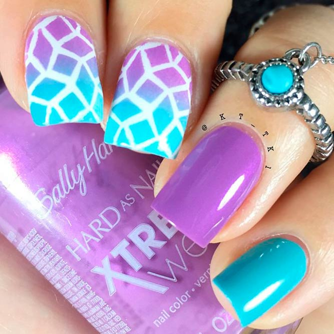 Purple Nails With Geometric Pattern picture 3