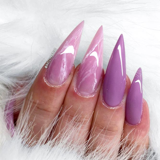 Charming Marble Effect And Purple Nail Colors picture 1
