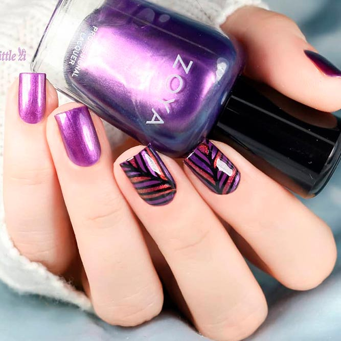 Purple Nails With Geometric Pattern picture 1