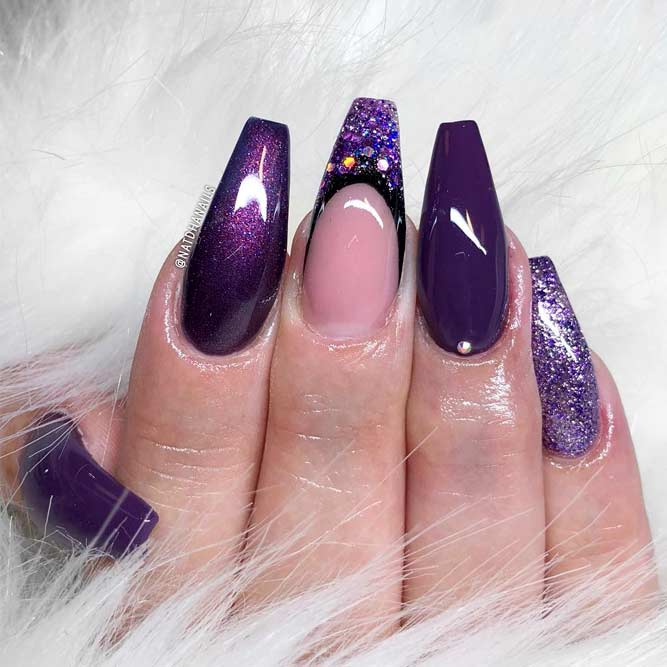 Lovely Purple Nails With Glitter Accent Picture1