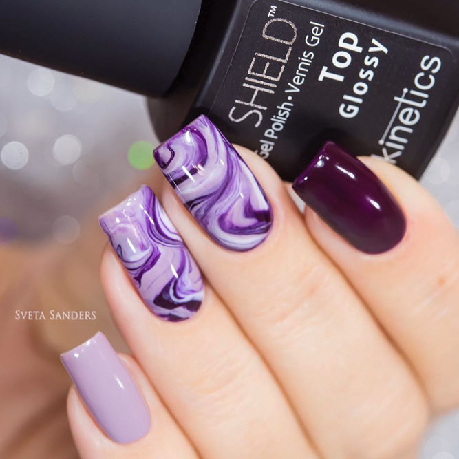 Charming Marble Effect And Purple Nail Colors picture 3