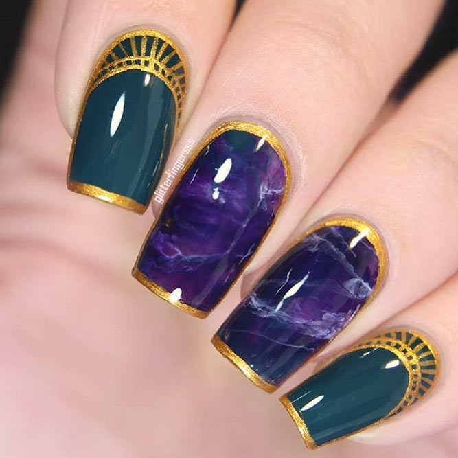 Charming Marble Effect And Purple Nail Colors picture 2