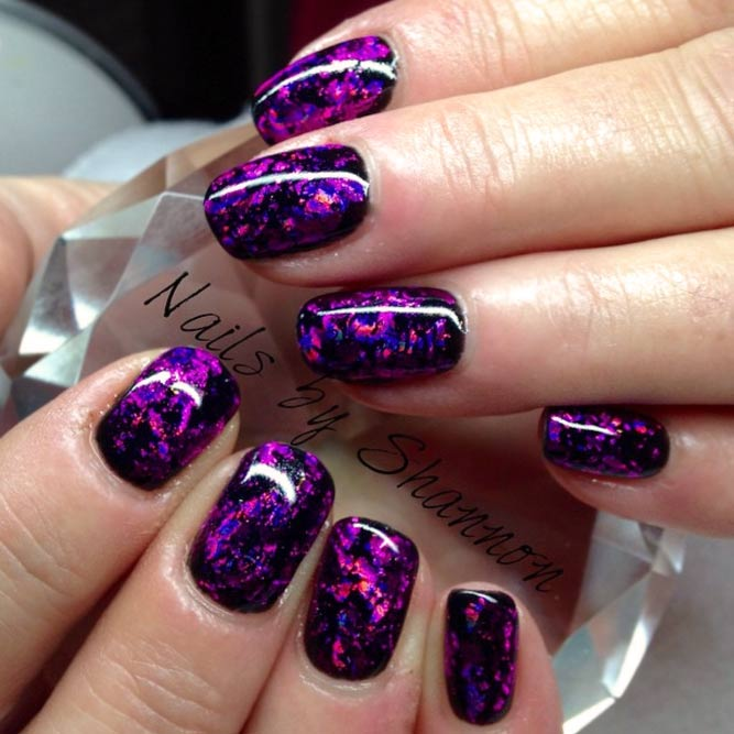 Dazzling Purple Nails With Foil Design picture 2
