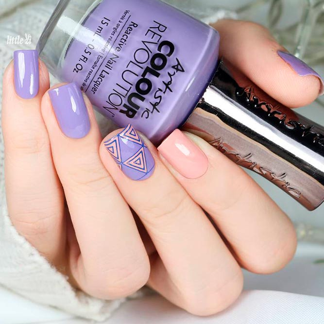 Purple Nails With Geometric Pattern picture 2