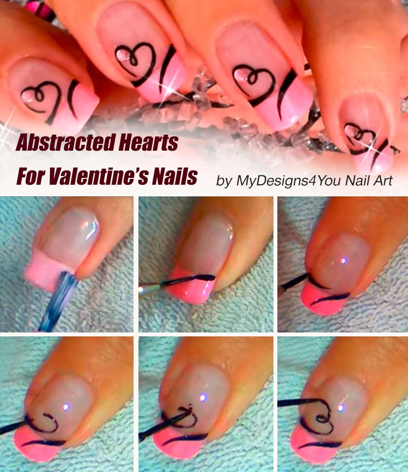 Abstracted Hearts For Valentine's Nails #handpaintednails #nailtutorial