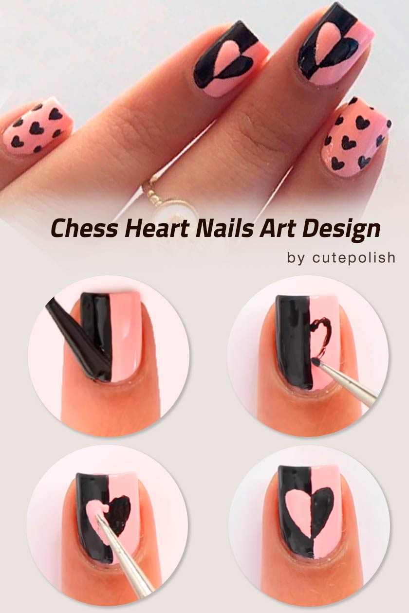 Chess Heart Nails Design #simplenailart #nailtutorial