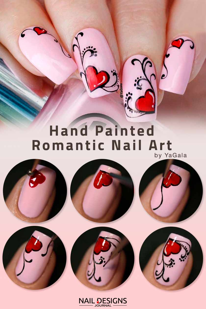 Hand Painted Romantic Nail Art #nailarttutorial #handpaintednails