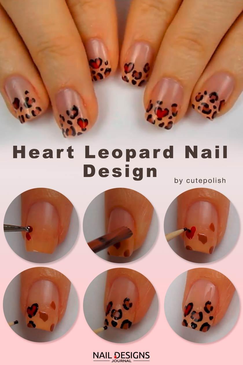 Heart Leopard Nail Art Design #handpaintednails #easynailsart