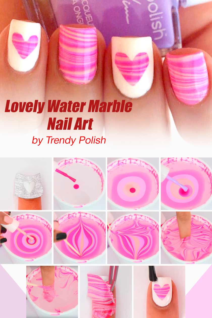 Lovely Water Marble Nail Art #watermarblenails #easynaildesign