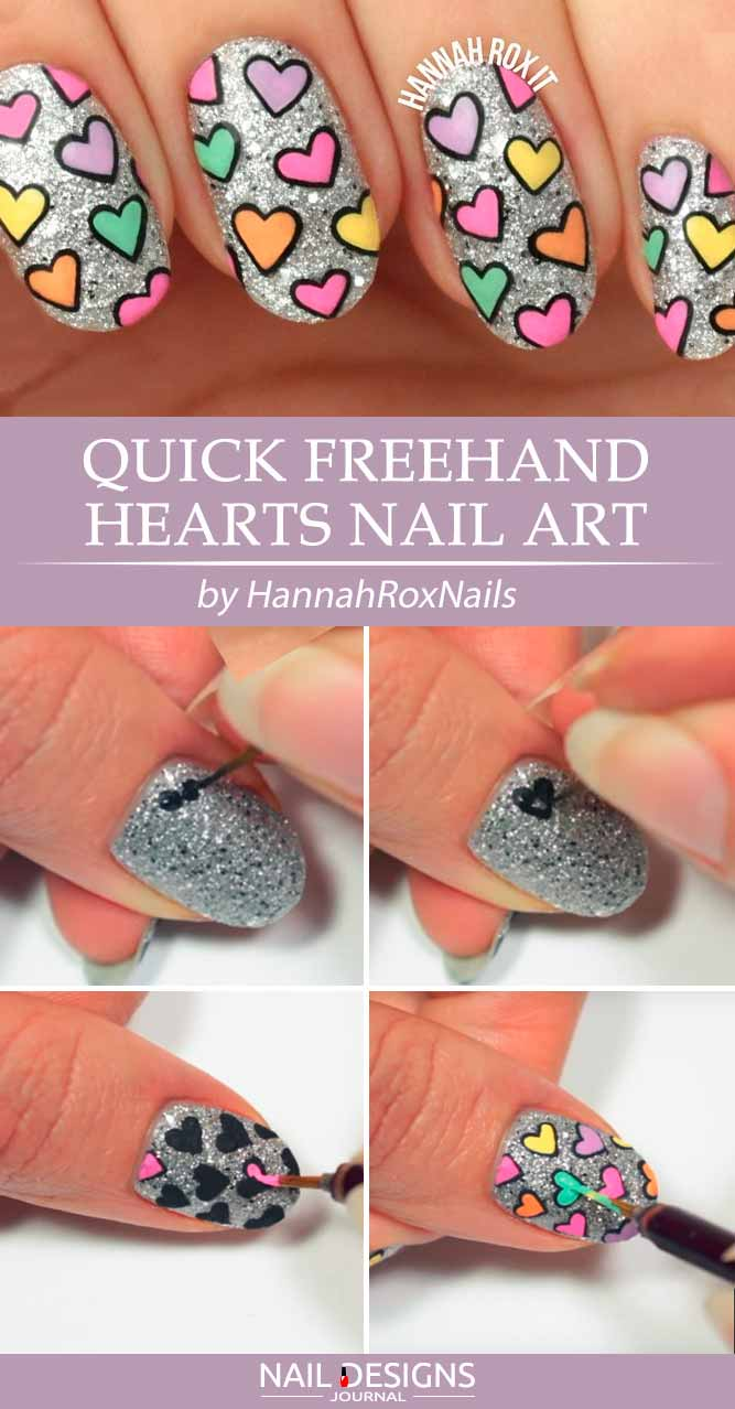 Quick Freehand Hearts Nail Art