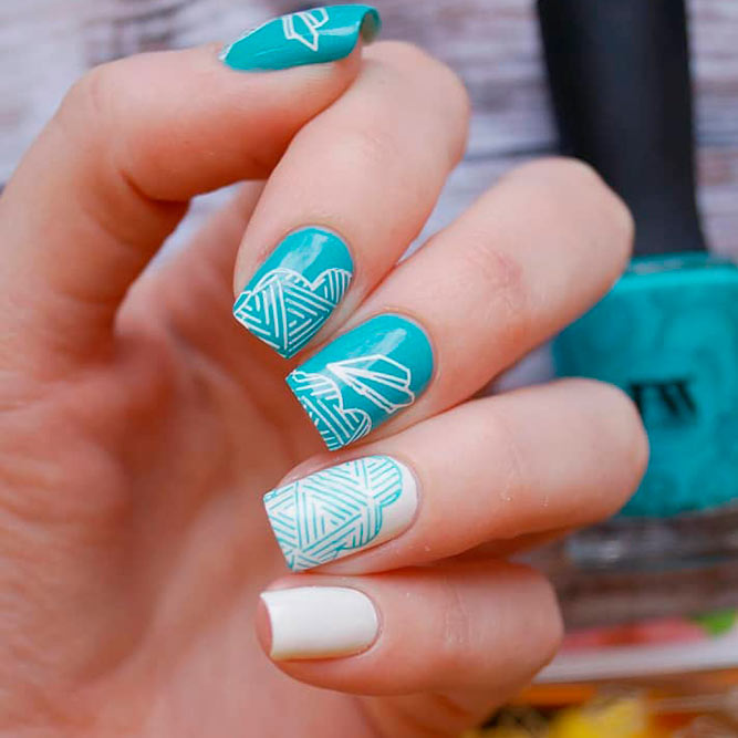 Perfect Combination Aqua And White Nail Polishes picture 1