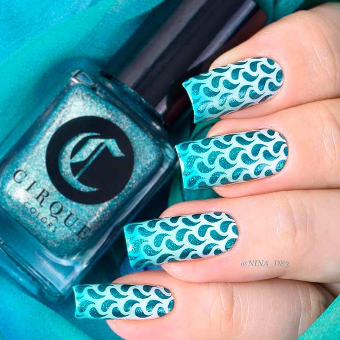 Bright Ombre Mani With Stamping Pattern picture 2