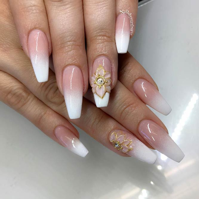 French Nails Design With Nude And White