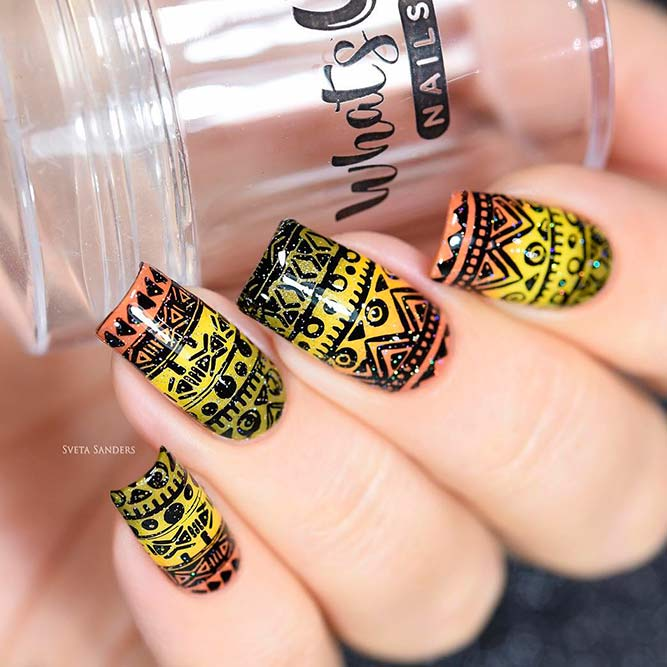 Bright Ombre Mani With Stamping Pattern picture 1