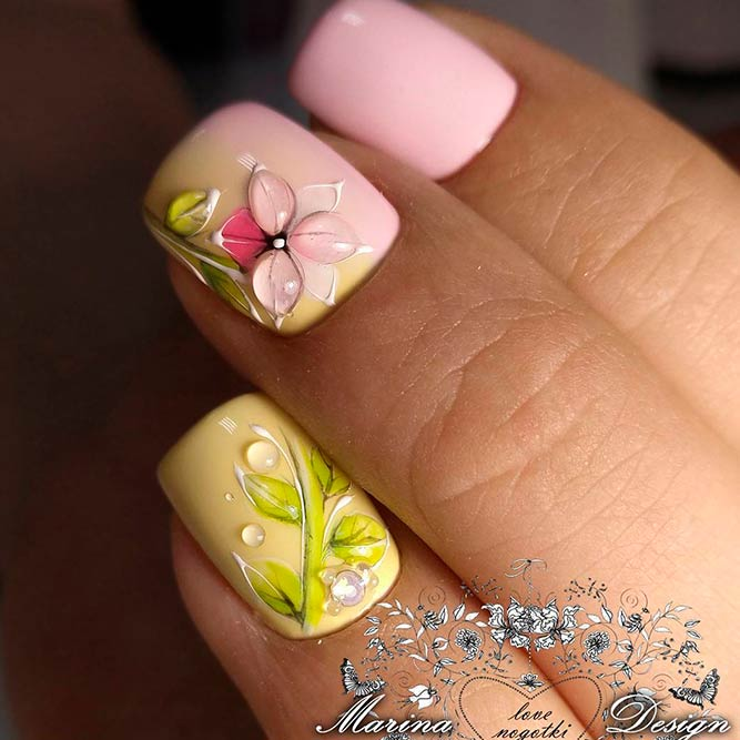 Soft Pale Color Combos With Floral Nail Art picture 2