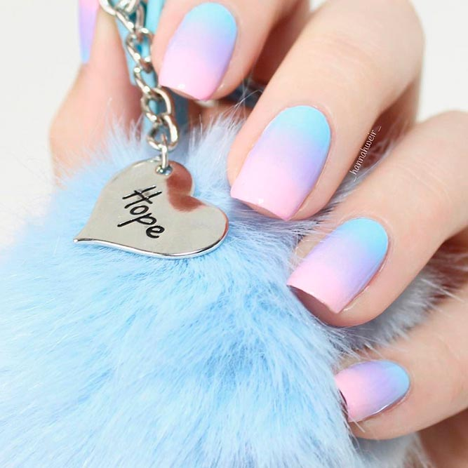 Baby Blue, Purple And Pink Colored Ombre picture 1