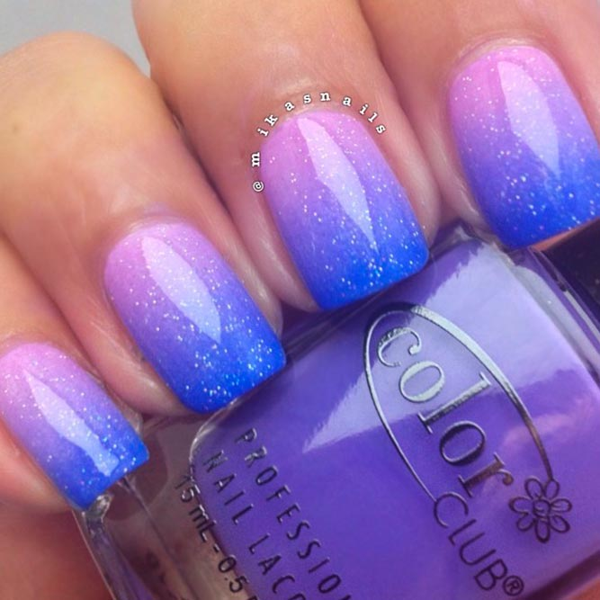 Baby Blue, Purple And Pink Colored Ombre picture 2