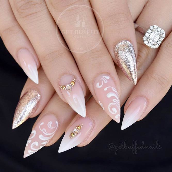 French Fade Nails With Nude And White