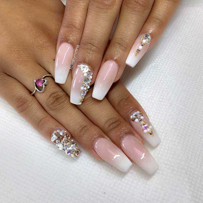 French Nails Design With Nude And White Colors