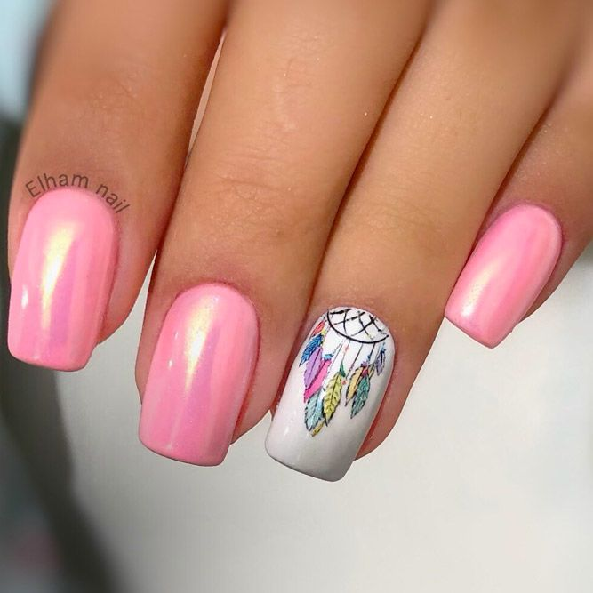 Dream Cather Nails In Pink Color