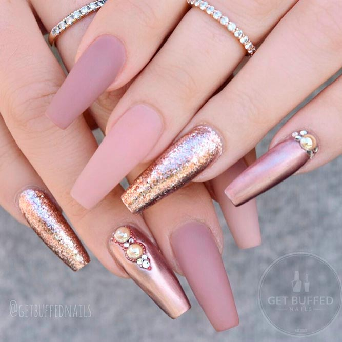 Rose Gold Nails With Rhinestones And Studs picture 2