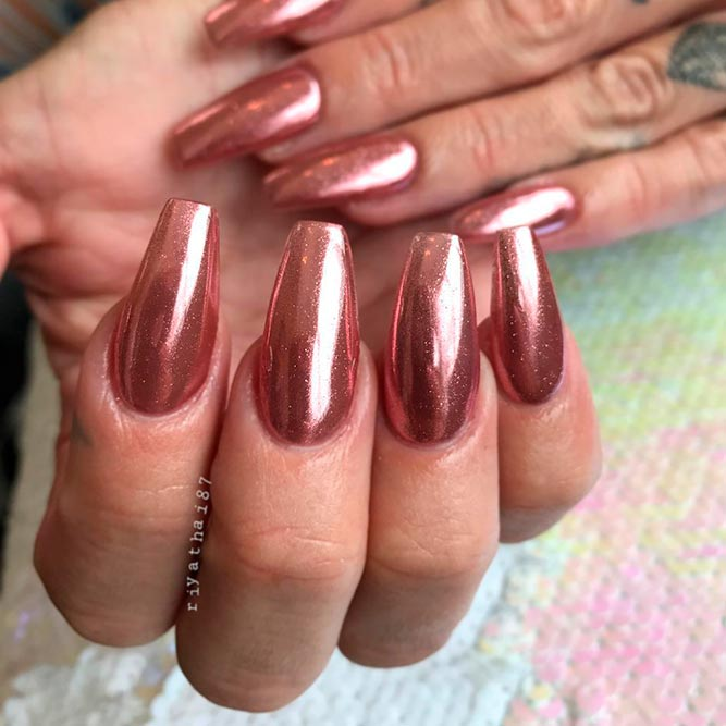 Chrome Rose Gold Nails picture 3