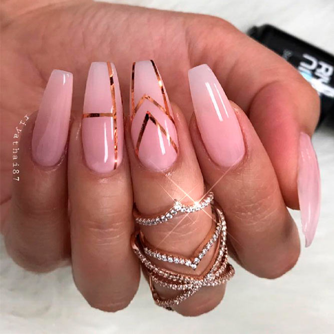 Rose Gold Accents For Your Nails picture 2