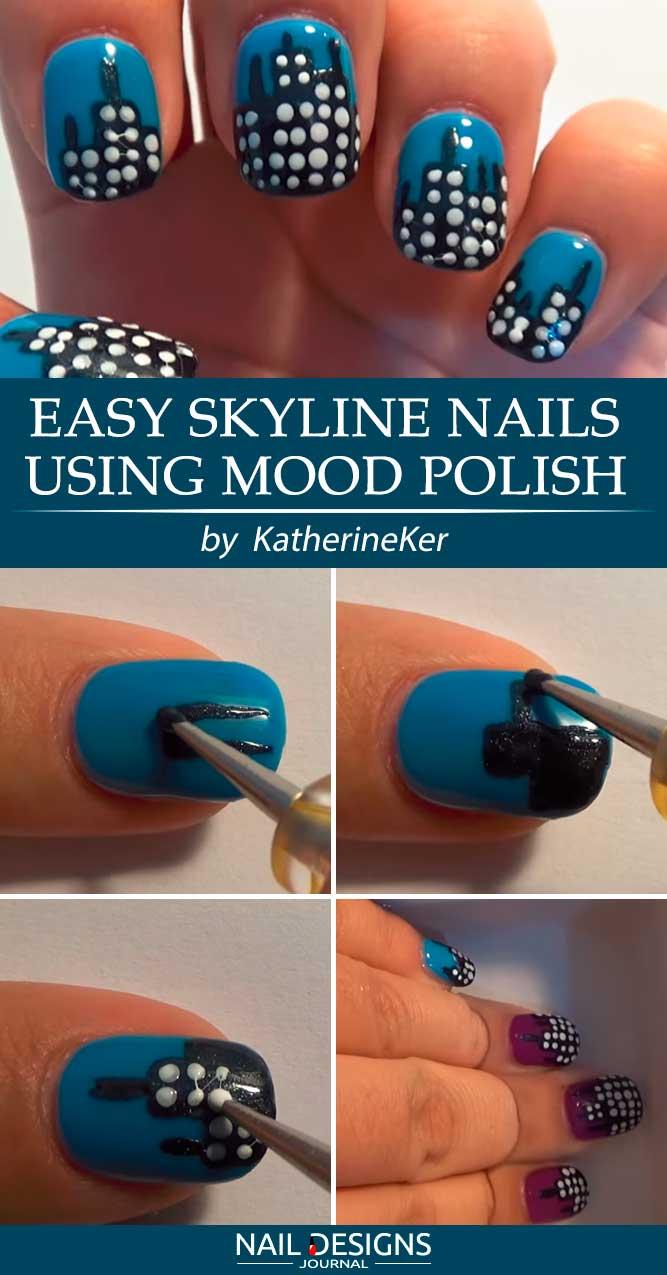 Easy Skyline Nails Using Mood Polish