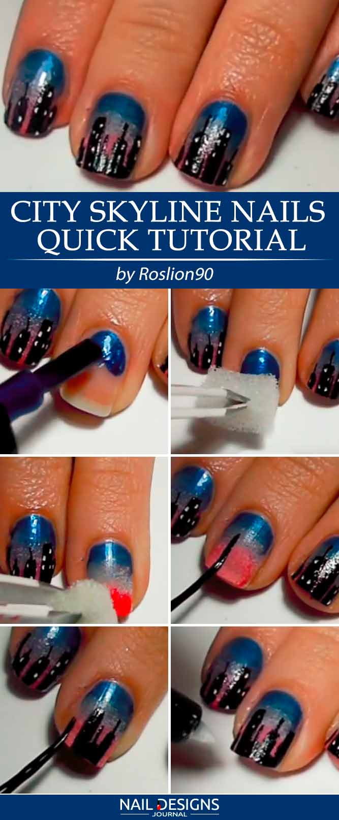New York Skyline Nails Quick Tutorial
