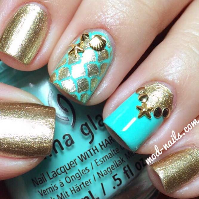 Spring Break Nails With Seashells and Mermaid Scales picture 2