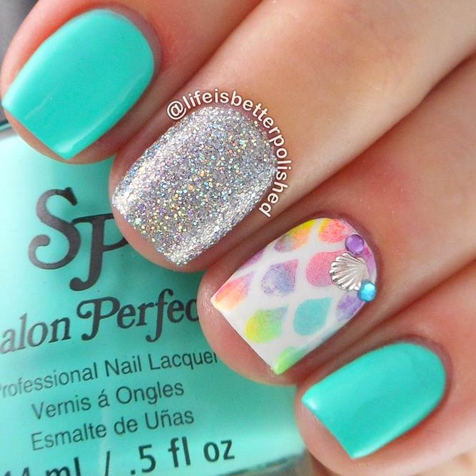 Spring Break Nails With Seashells and Mermaid Scales picture 1