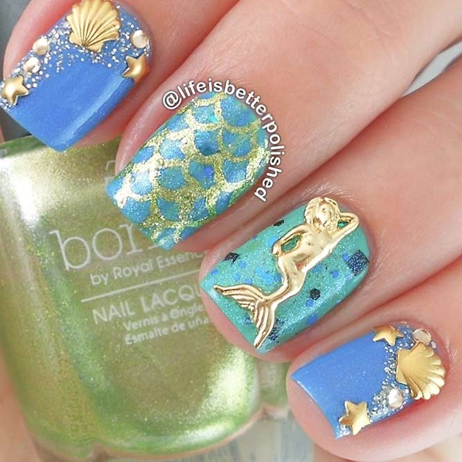 Spring Break Nails With Seashells and Mermaid Scales picture 3