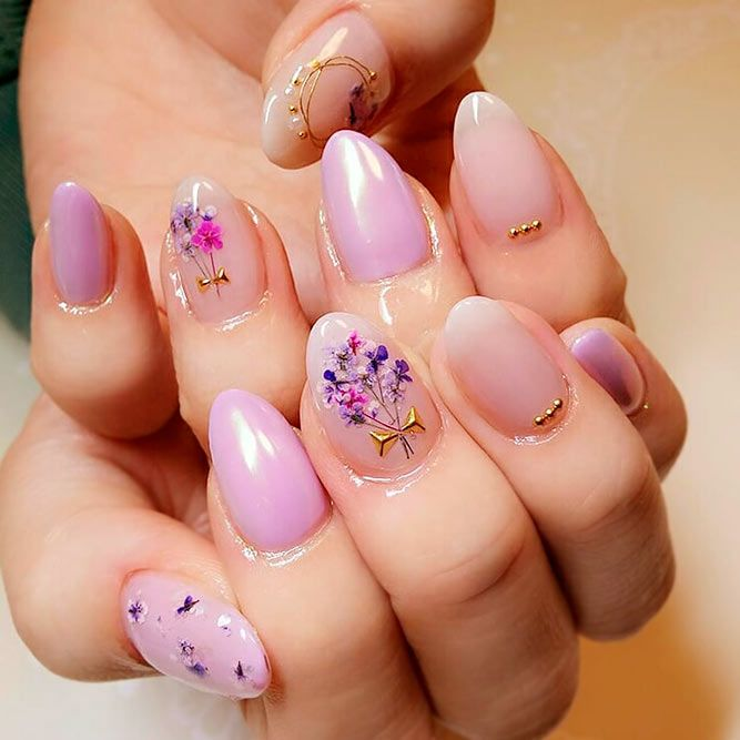 Spring Nail Designs With Fragile Dried Flowers