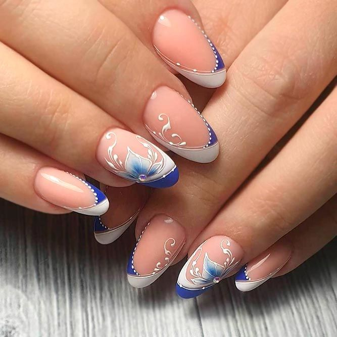 French Tip Manicure Upgraded With Gentle Floral Accent