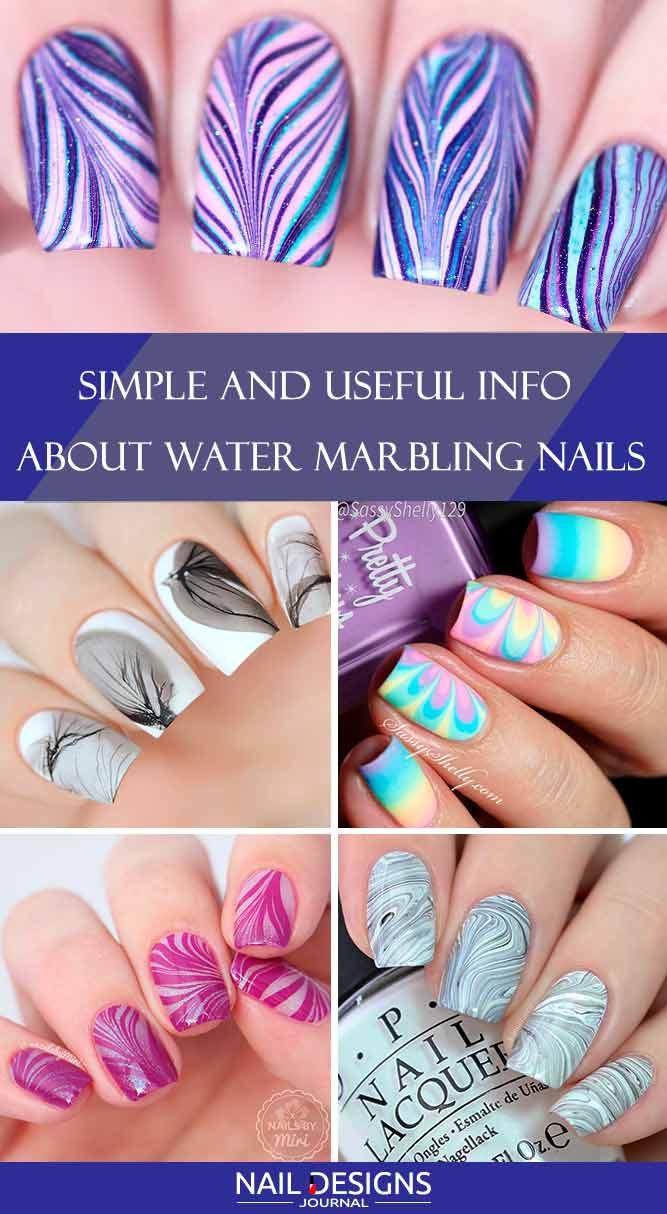 Cute And Easy Water Marble Nails Looks | NailDesignsJournal.com