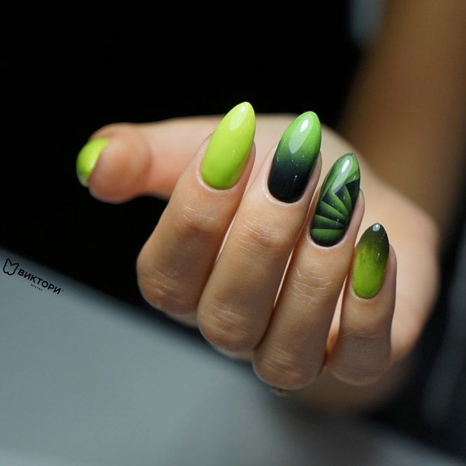 Geometry Olive Nails Design