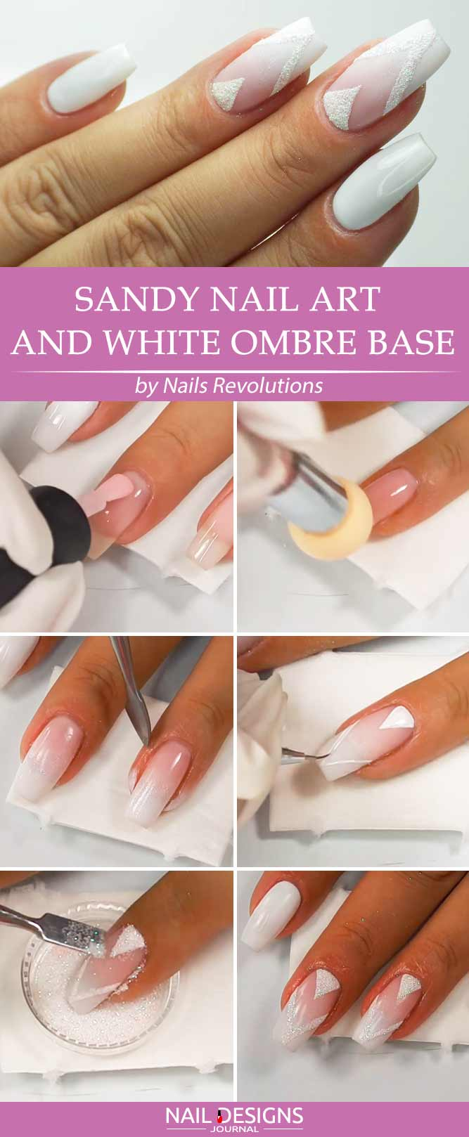 Sandy Nail Art and White Ombre Base