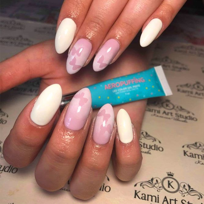 Sweet Nude Aeropuffing Nails With Butterfly Accent