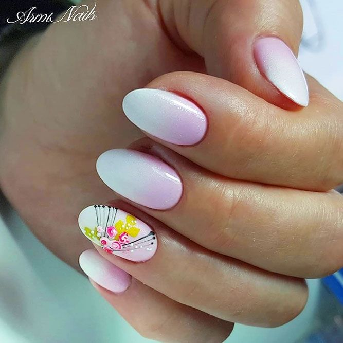 Pink And White Aeropuffing Nails Design With Flower Accent