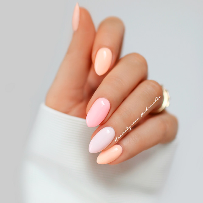Peach Pastel Colors Nails Designs picture 1