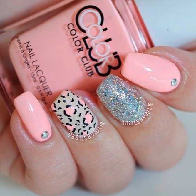 Peach Pastel Colors Nails Designs picture 2