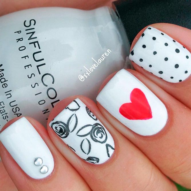 White Nails With Polka Dots picture 1