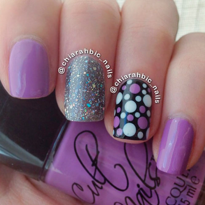 Purple and Lilac Polka Nails picture 2