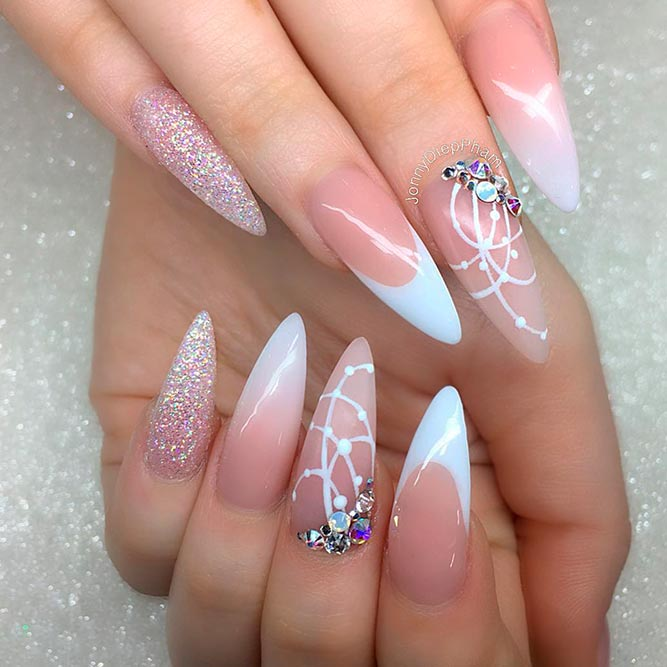 Elegant French Nail Art With Stones picture 3