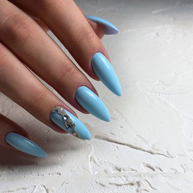 Blue Nails With Rhinestone Accent