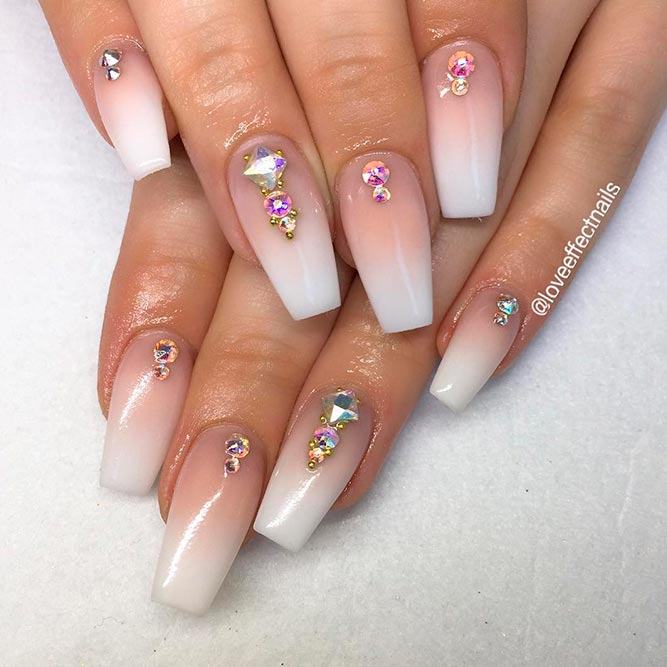 Elegant French Nail Art With Stones picture 1