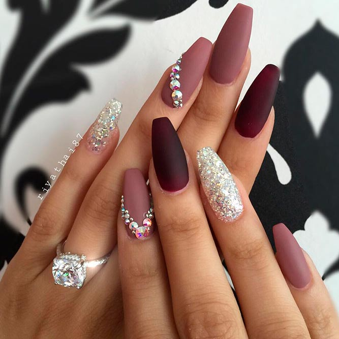 Nail Designs With Rhinestones And Glitter Picture 1