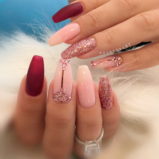Nail Designs With Rhinestones And Glitter picture 2